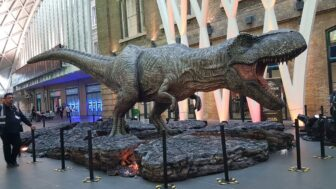 jurassic world kings cross dinosaur9 1 336x189 - JURASSIC WORLD: FALLEN KINGDOM'S Tyrannosaurus Rex Stomps on Kings Cross Station