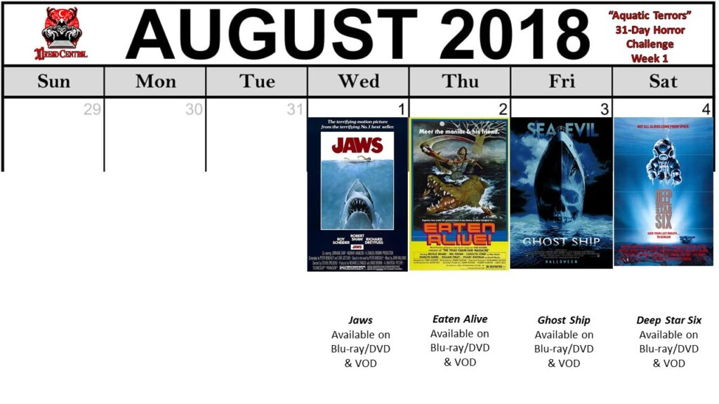 August 31 Day Horror Challenge Aquatic Terrors Week 1 1024x576 - Aquatic Terrors: Dread Central's 31-Day Horror Challenge for August 2018