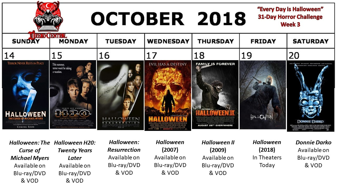 October 2018 31 Day Horror Challenge Week 3 - Every Day is Halloween: Dread Central's 31-Day Horror Challenge for October 2018