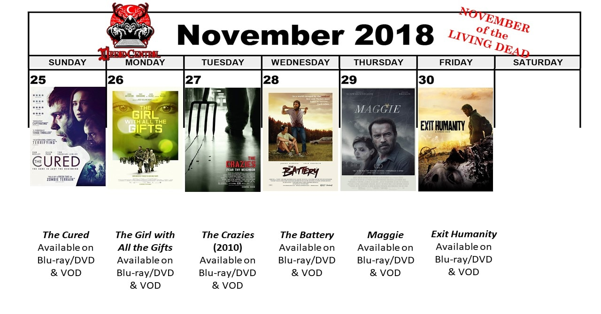 November 2018 30 Day Horror Challenge Week 5 - November of the Living Dead: Dread Central's 30-Day Horror Challenge for November 2018