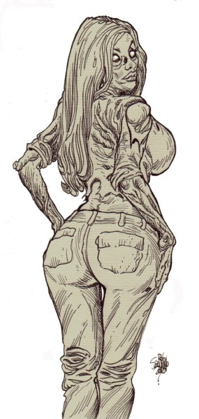 zombie art pinup 247 - (NSFW) Scared Stiff? Horror Artist Rob Sacchetto's Zombie Pin-Ups are Horrific & Sexy