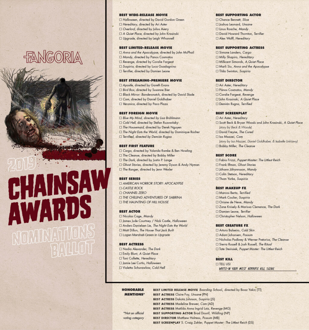 CHAINSAW Nominations 1024x1094 - Fangoria Resurrects the Chainsaw Awards and Dread Central Presents' TERRIFIER Snagged Three Nominations!