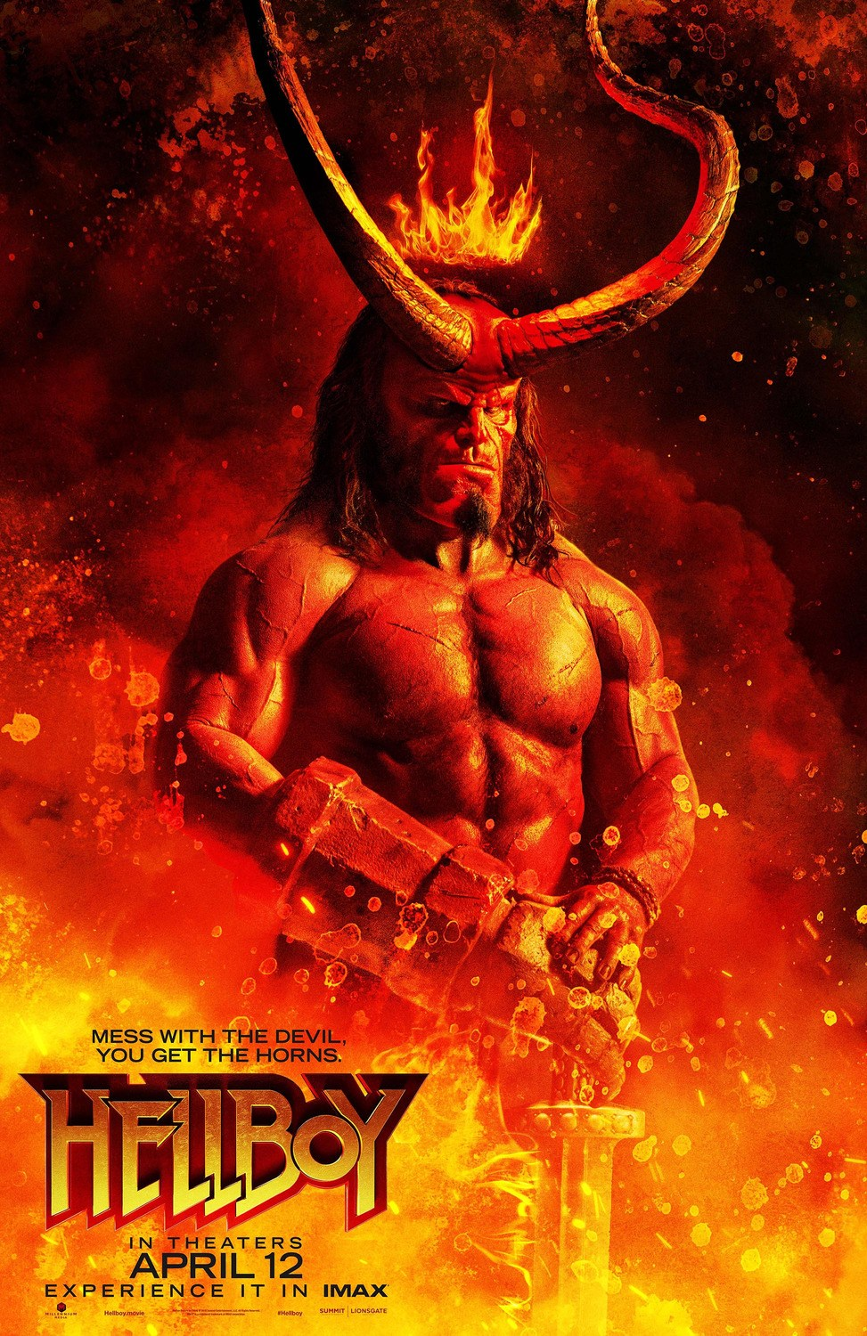 HELLBOY 2019 Poster 1 - 2 Awesome New Posters for HELLBOY Give You the Horns!