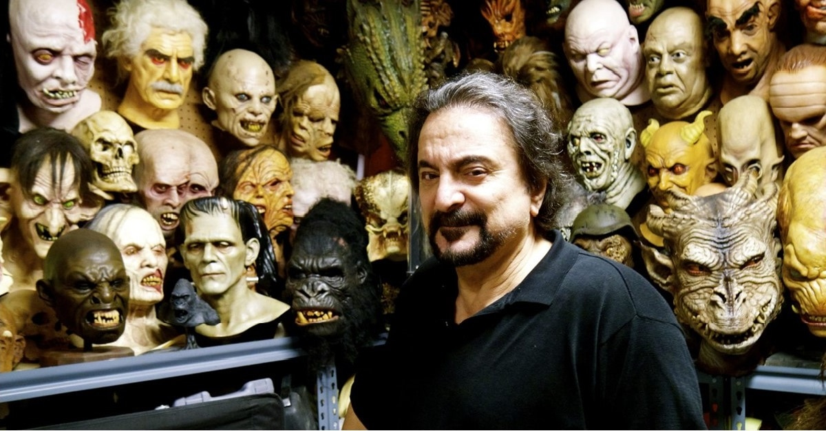 Savini with masks - FX Icon Tom Savini Teams Up with Trick or Treat Studios for New Line of Zombie Face Masks