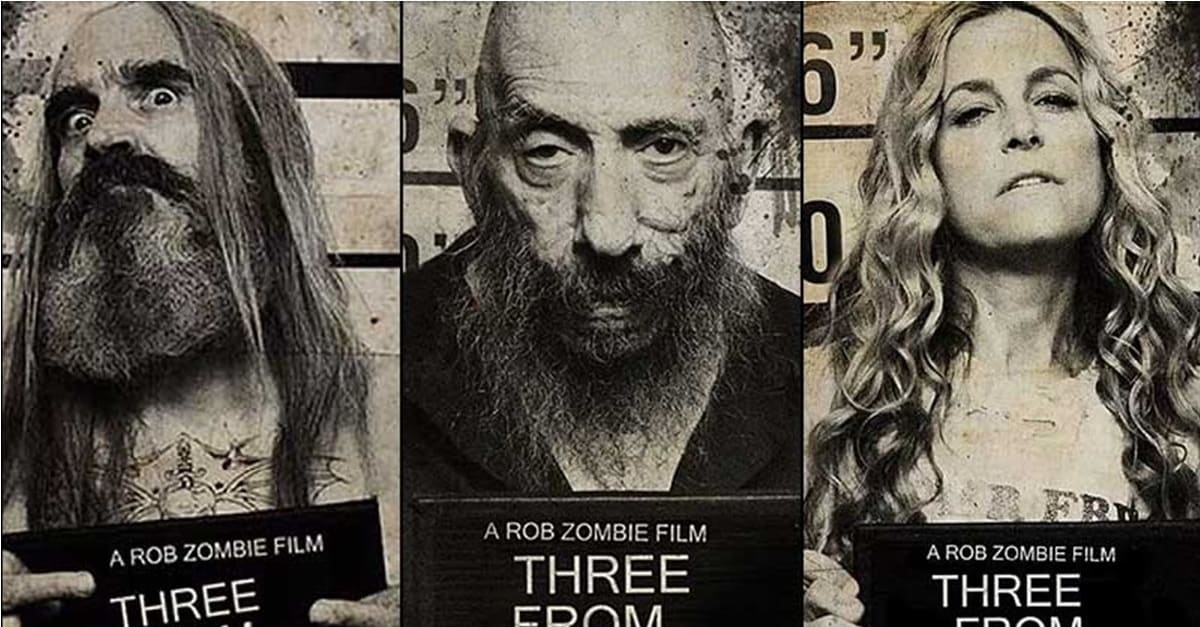 The original trio themselves, only this time locked up for life in 3 From Hell: (from L to R) Otis (Bill Moseley), Captain Spaulding (Sid Haig) and Baby (Sherri-Moon Zombie).