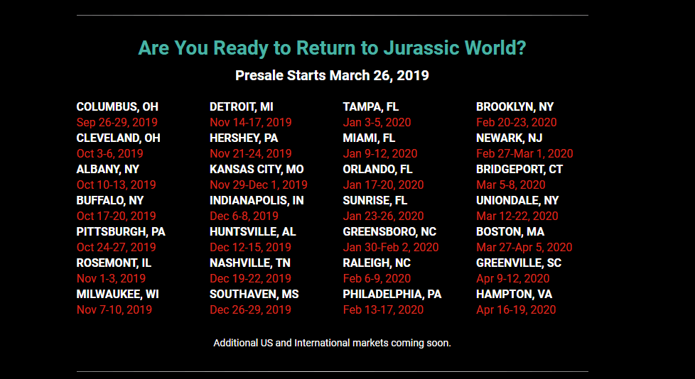 jw live - JURASSIC WORLD Live Arena Experience Coming in September