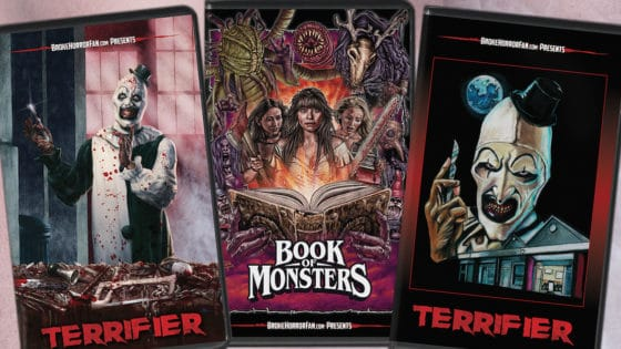 terrifierbookofmonstersvhspromobanner 560x315 - TERRIFIER and BOOK OF MONSTERS VHS Editions on Sale Now!