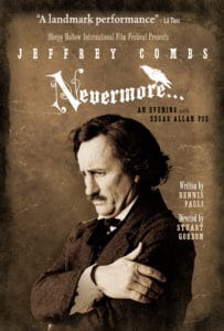 19 03 22 Nevermore 203x300 - Jeffrey Combs' Edgar Allan Poe Play NEVERMORE Added to Sleepy Hollow International Film Fest