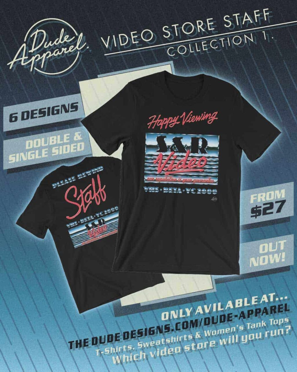 Dude Apparel VHS Video store 1 1024x1280 - DUDE APPAREL Launches the Perfect Retro Gear for Nostalgic Film Fans