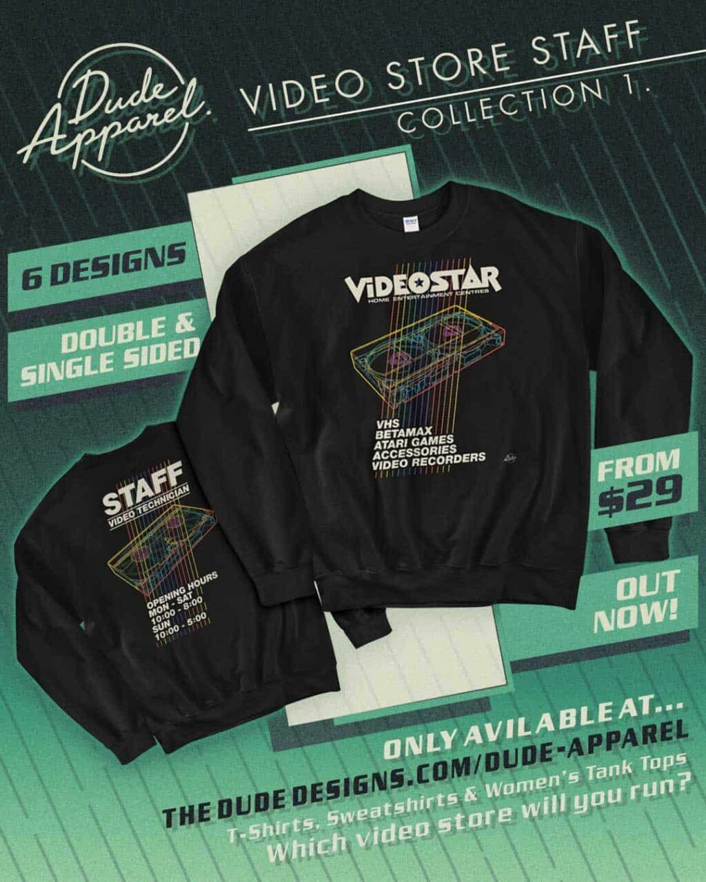 Dude Apparel VHS Video store 2 1024x1280 - DUDE APPAREL Launches the Perfect Retro Gear for Nostalgic Film Fans