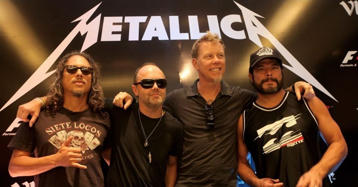Metallica Banner - Members of METALLICA Kick Off Baseball Game with Shredding Rendition of Star-Spangled Banner
