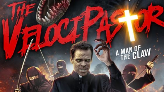 VelociPastor Banner 560x315 - Trailer: Priest Becomes a Dinosaur in THE VELOCIPASTOR Screening at San Diego Comic-Con