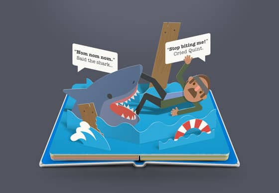 jaws small - Artist Imagines the Scariest Scenes in Horror Movies as Pop-Up Books