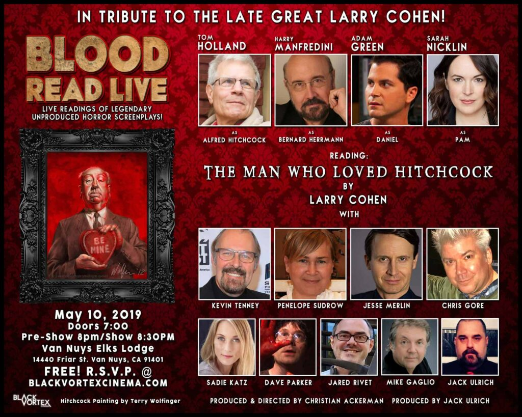 BRL1 Event Flyer5 1024x819 - Black Vortex Cinema Presents BLOOD READ LIVE: THE MAN WHO LOVED HITCHCOCK to Honor Larry Cohen