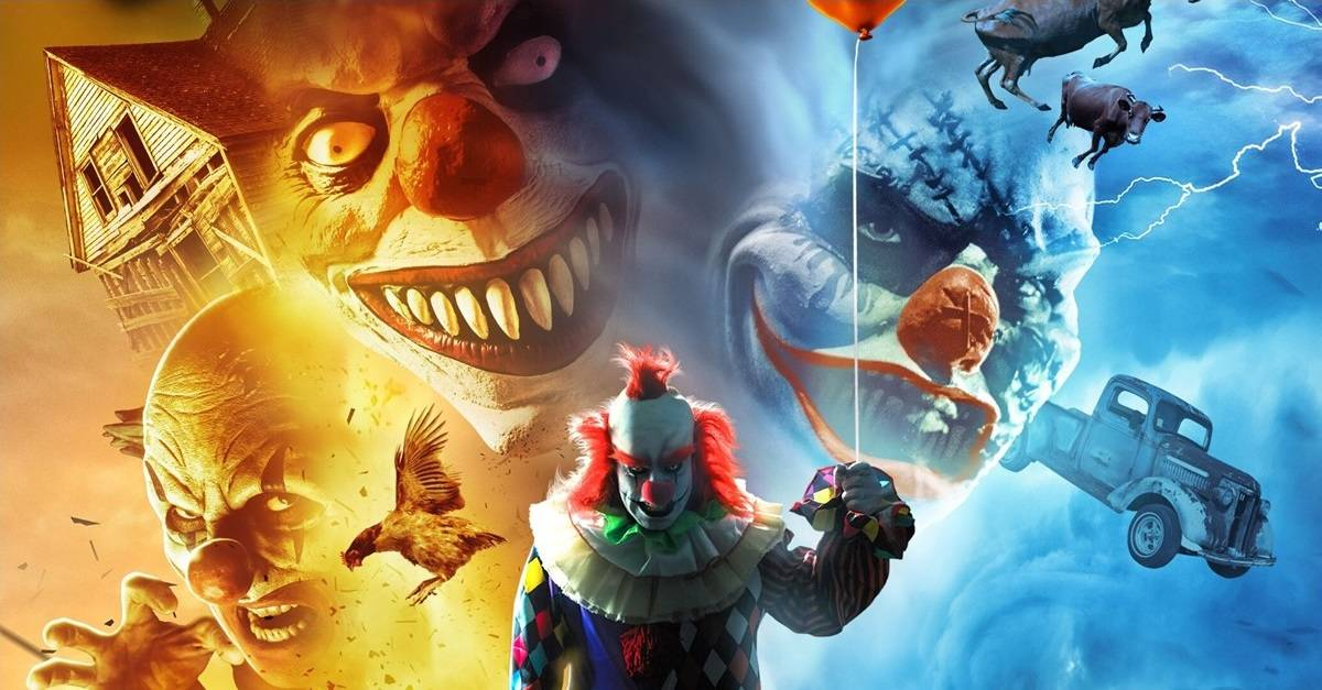 Clownado Banner - Trailer: F*** Your Flying Sharks! Teaser & New Poster for CLOWNADO Blow In