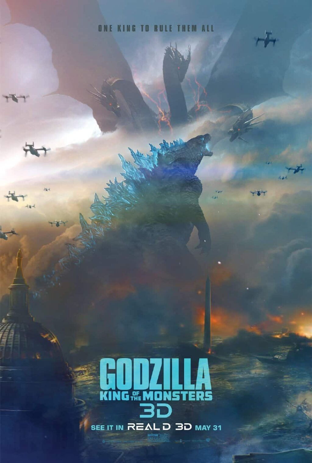 godzilla 3d 1024x1517 - 3D & IMAX Posters for GODZILLA: KING OF THE MONSTERS Highlight Glorious Battle Scenes in Store