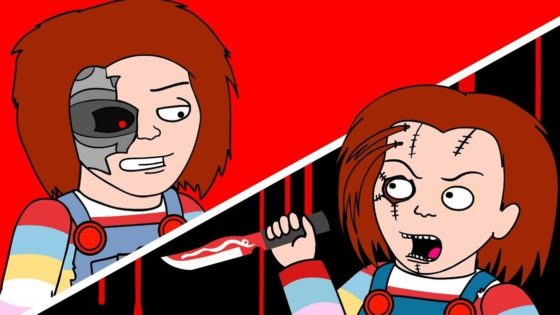 Chucky v Childs Play Banner 560x315 - New Chucky vs Classic Chucky in Hysterical Animated CHILD'S PLAY Parody