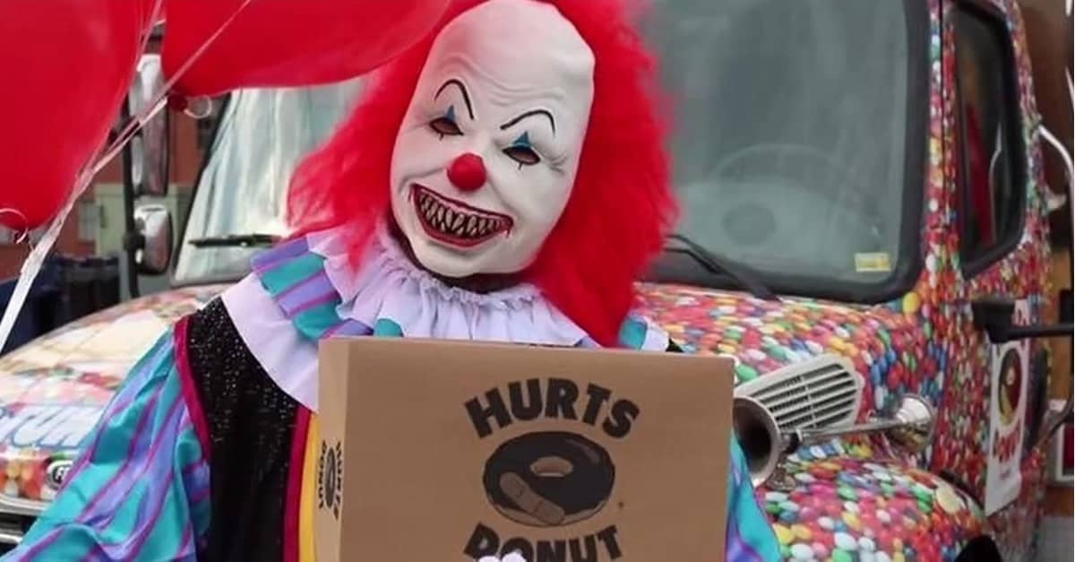 Hurts Donut Banner - This Halloween, Hurts Will Send a Creepy Clown to Deliver Donuts to Your Friends (Or Enemies)