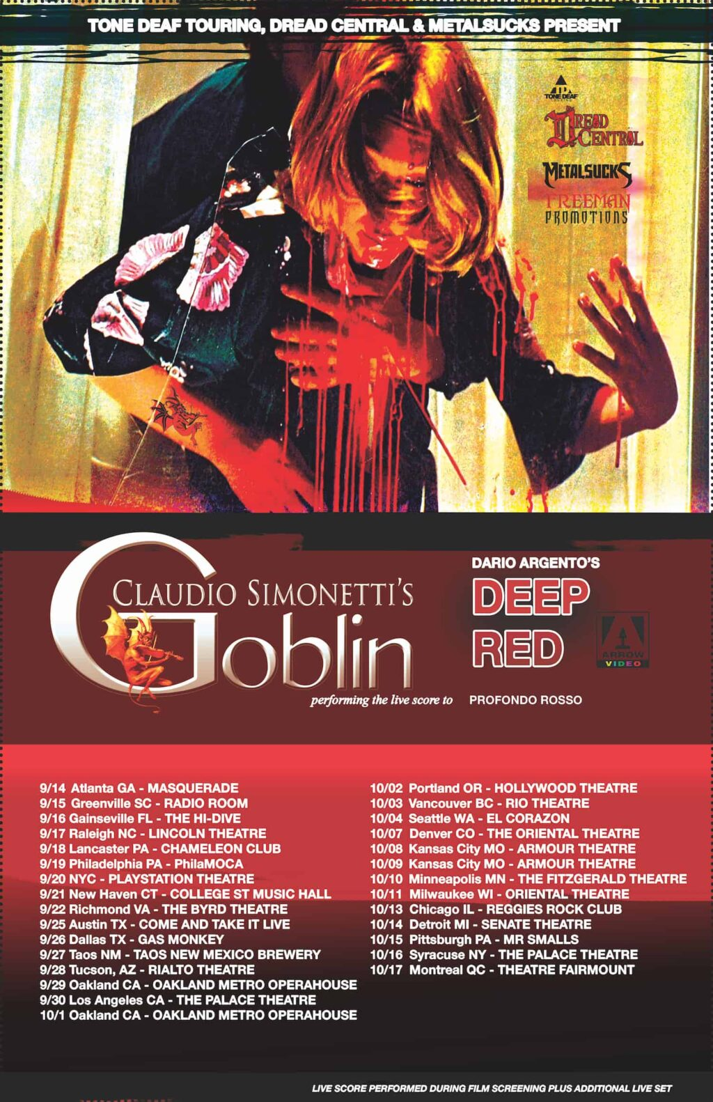 GOBLIN POSTER PALACE 1 1024x1582 - Claudio Simonetti's GOBLIN Fall Tour: Full Dates Released