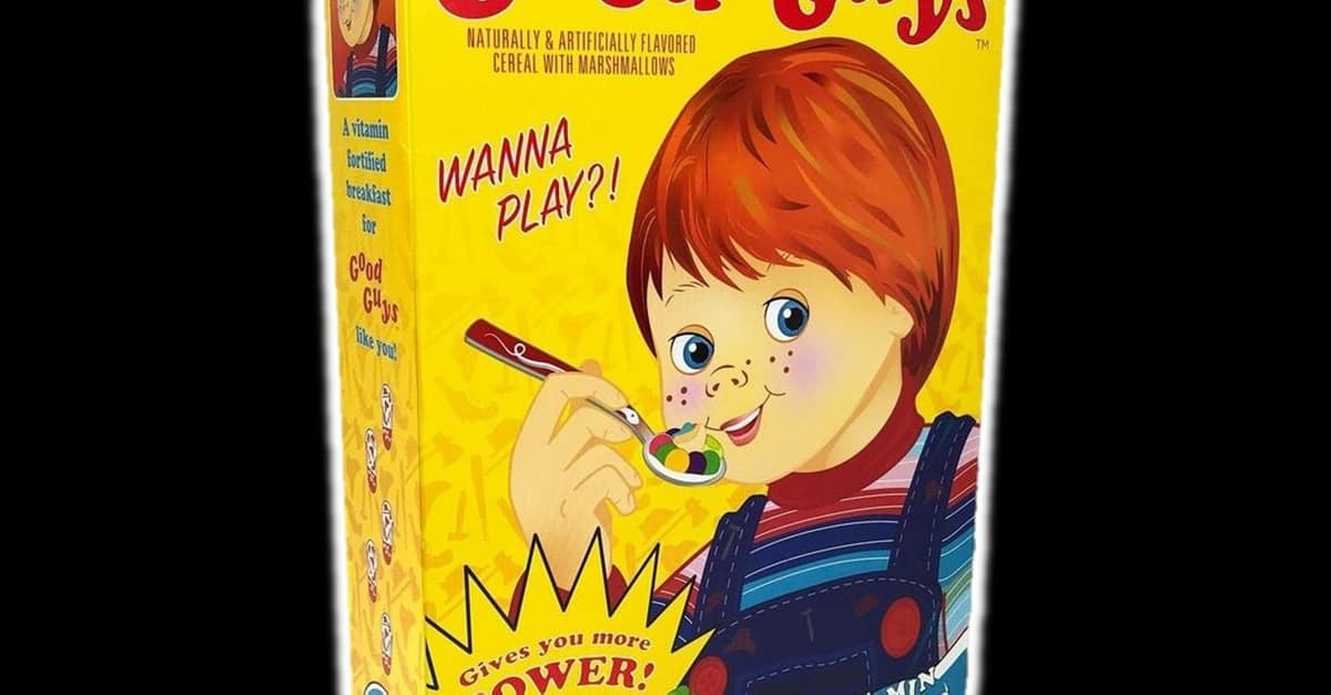 Good Guy Cereal Banner - Start Your Day the Chucky Way with a Bowl of Sugar-Coated Good Guys Cereal