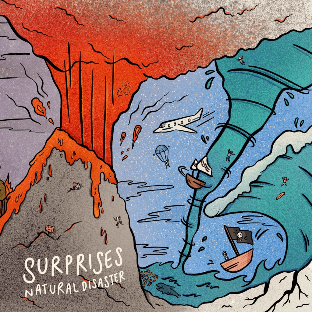 """Surprises Natural Disaster Album Cover 1024x1024 - Exclusive Video Premiere: """"I Can't See You Em"""" by SURPRISES Drips with B-Movie Gore"""