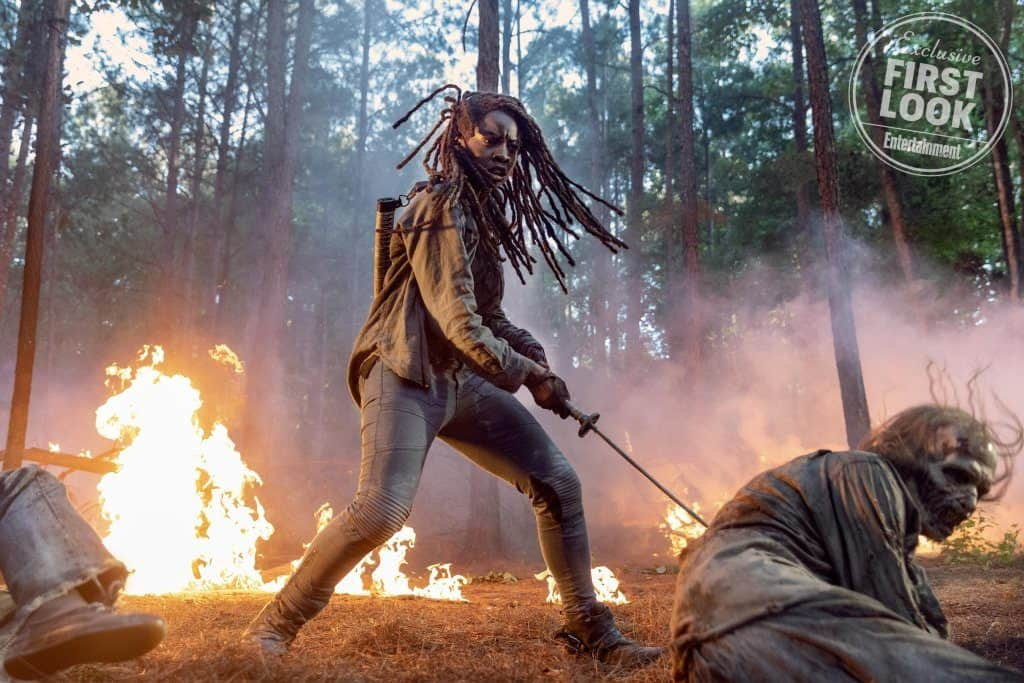 "walking dead season 10 1024x683 - Dreadlocks Fly and Fires Blaze in ""First Look"" at Michonne in THE WALKING DEAD Season 10"