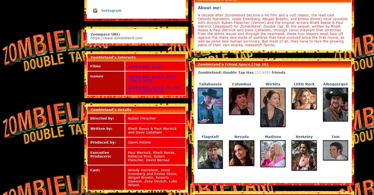 zombieland 2 banner - ZOMBIELAND: DOUBLE TAP Website Goes Retro with MySpace Makeover