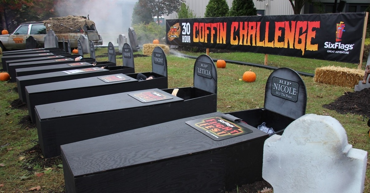 coffin challenge banner - Six Flags Dares You to Spend 30 Hours in a Coffin--For Prizes!