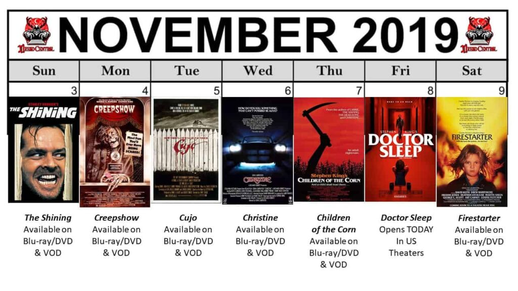 November 2019 Week 2 1024x576 - Nothing But Stephen King Movies in Our Latest #MonthOfDread!