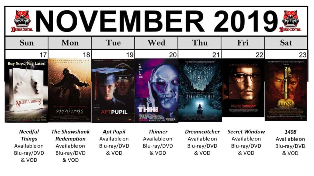 November 2019 Week 4 1024x576 - Nothing But Stephen King Movies in Our Latest #MonthOfDread!