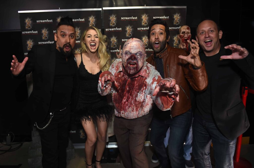 Samuel Gonzalez Jr. Mario Lopez GiGi Gustin and Ron Gemende 1024x680 - SCREAMFEST L.A. 2019 – Exclusive Opening Night Photos & Interviews with EAT, BRAINS, LOVE Director Rodman Flender & More