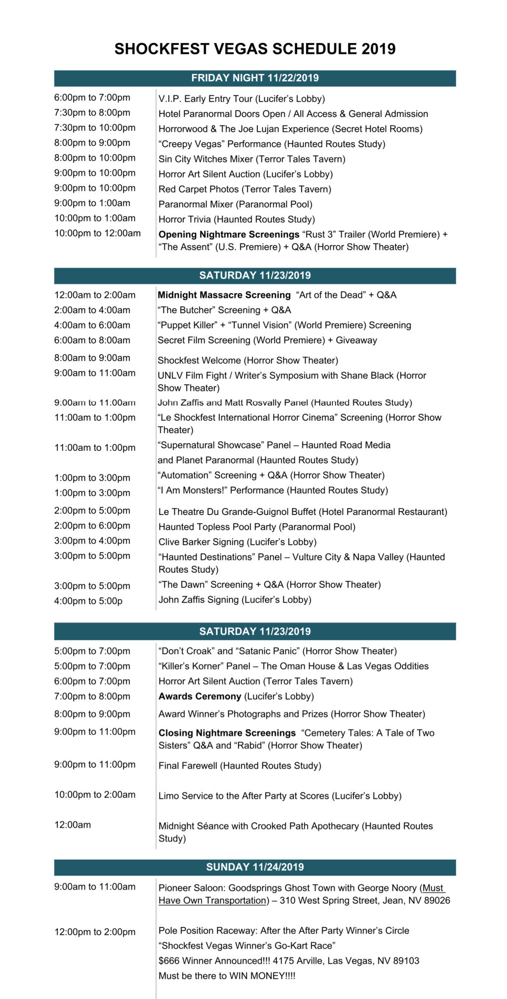 Shockfest Schedule CORRECTED 1024x2016 - Here's Your Guide to the Hotel Paranormal (Shockfest Vegas 2019 Schedule)