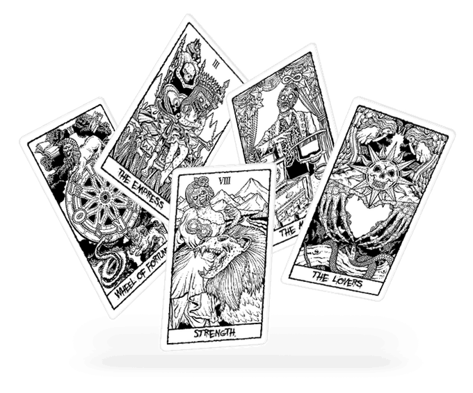 Tarot BandW - 1 More Day to Support THE BEAUTY OF HORROR Tarot Card Set