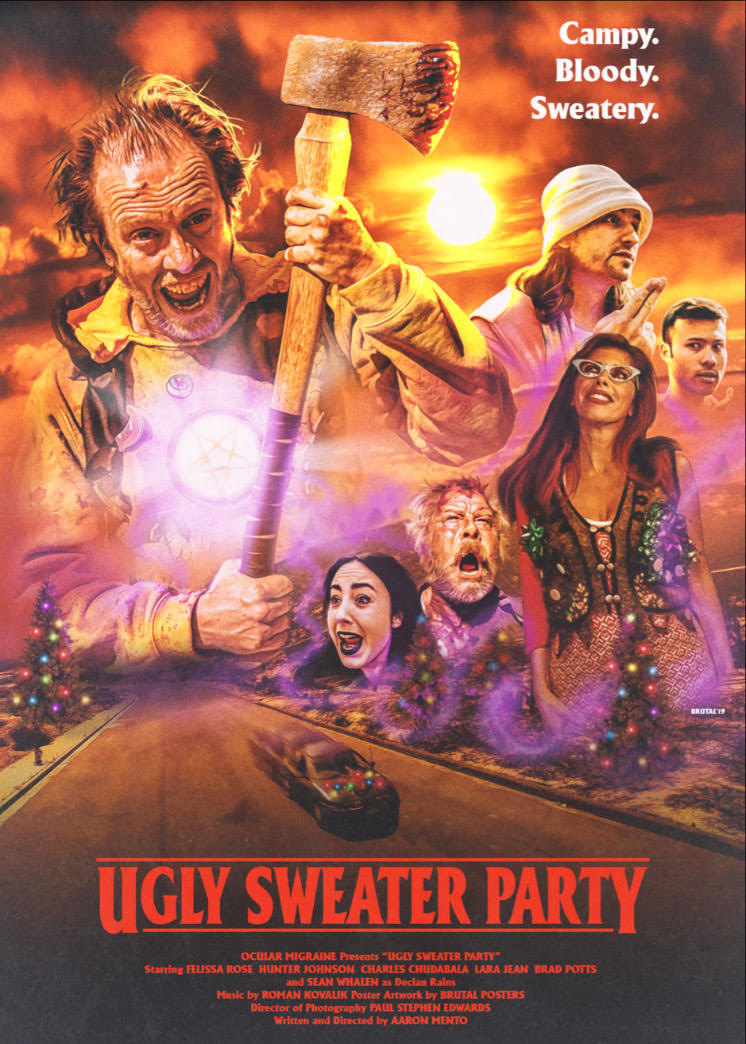 Ugly Sweater Party Poster - Join the UGLY SWEATER PARTY with Blu-ray Signing at Dark Delicacies on December 13th