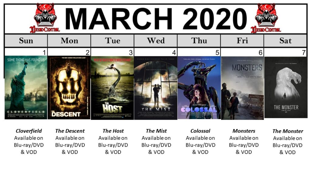 "March 2020 Template week 1 1024x576 - Our 366-Day ""Year of Dread 2020"" Horror Challenge Continues with a Month of Monsters"