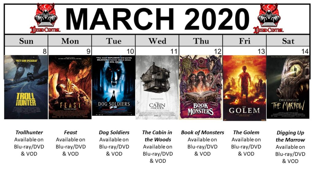 "March 2020 Template week 2 1024x576 - Our 366-Day ""Year of Dread 2020"" Horror Challenge Continues with a Month of Monsters"