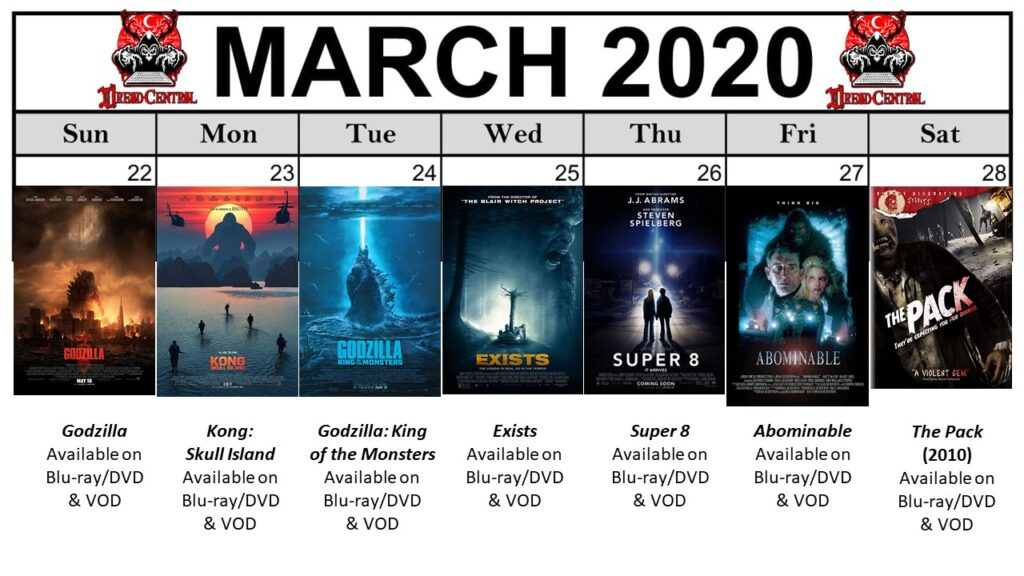 "March 2020 Template week 4 1024x576 - Our 366-Day ""Year of Dread 2020"" Horror Challenge Continues with a Month of Monsters"