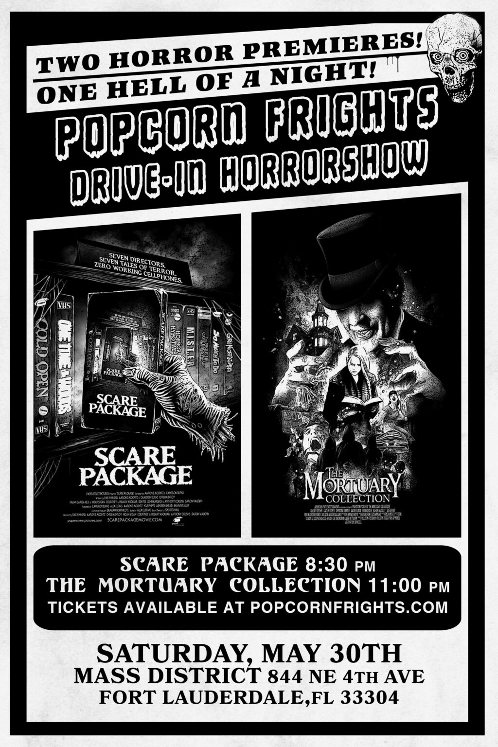 POPCORN FRIGHTS DRIVE IN FINAL 1024x1536 - Popcorn Frights Launches  Drive-In Horrorshow Series with SCARE PACKAGE & THE MORTUARY COLLECTION