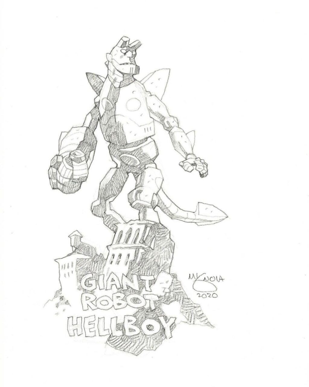 mike mignola giant robot hellboy 1024x1279 - Mike Mignola Shares Incredible Quarantine Artwork Of All Your Favourite Characters