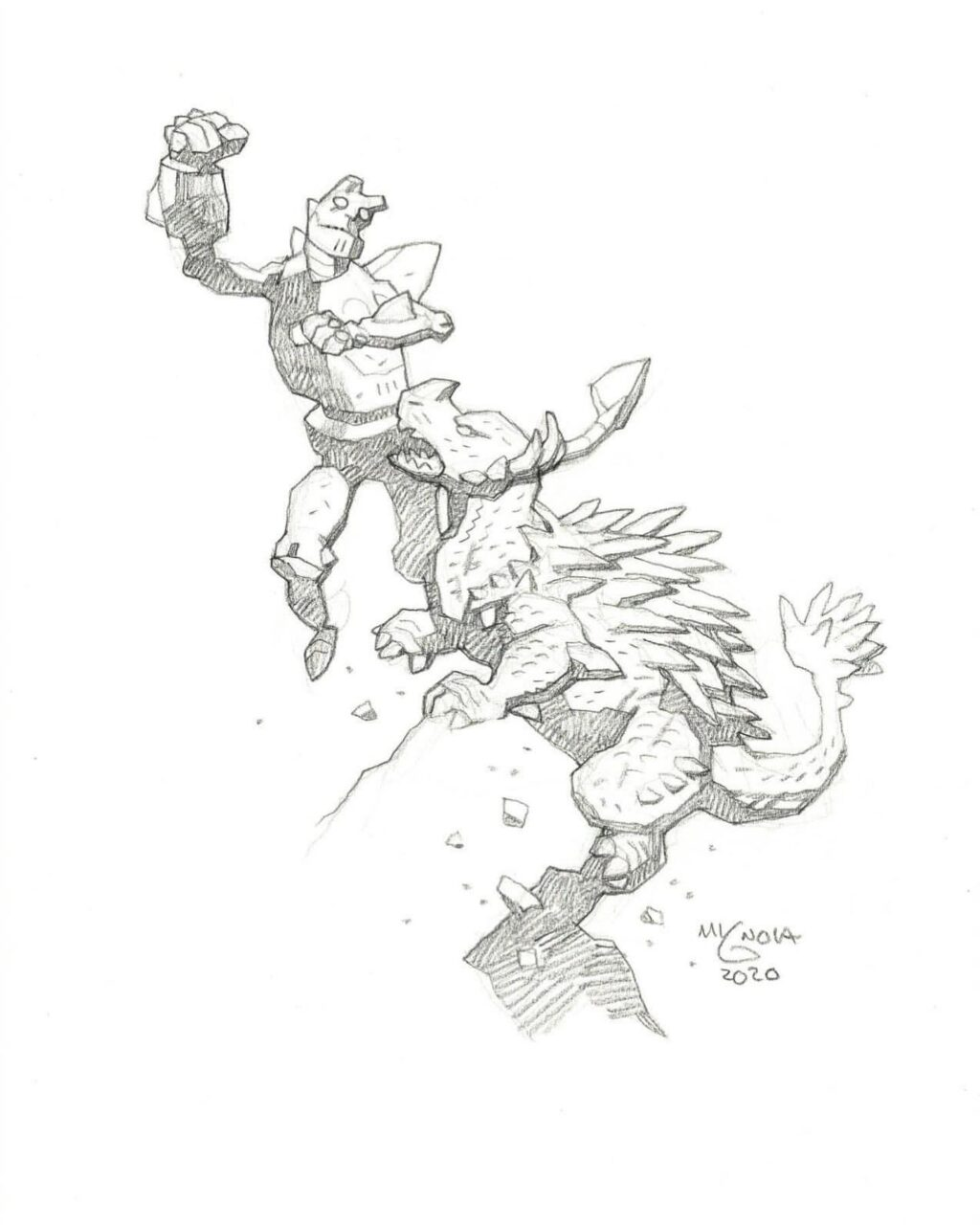 mike mignola hellboy and Anguirus 1 1024x1280 - Mike Mignola Shares Incredible Quarantine Artwork Of All Your Favourite Characters