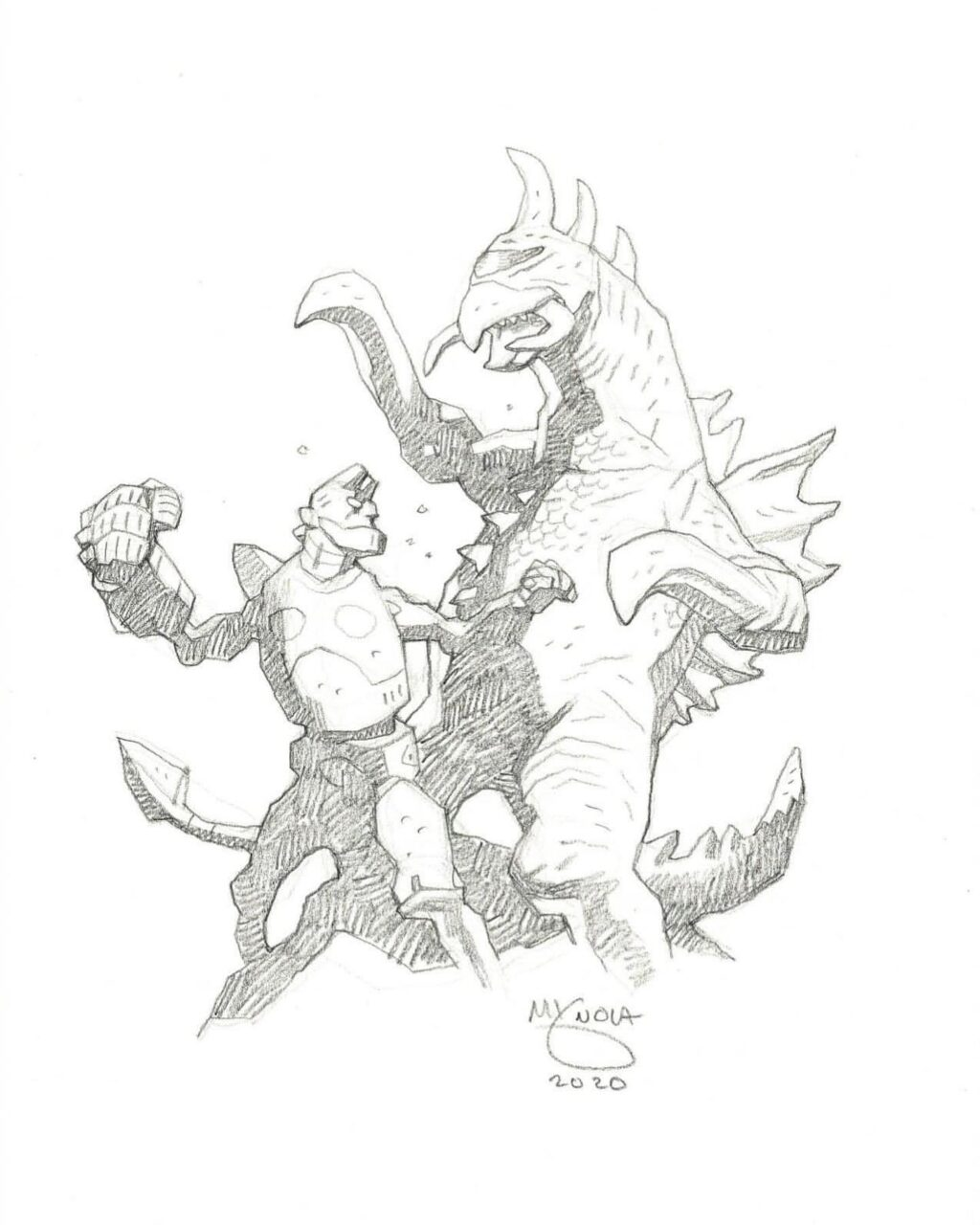 mike mignola hellboy and gigan 1 1024x1280 - Mike Mignola Shares Incredible Quarantine Artwork Of All Your Favourite Characters