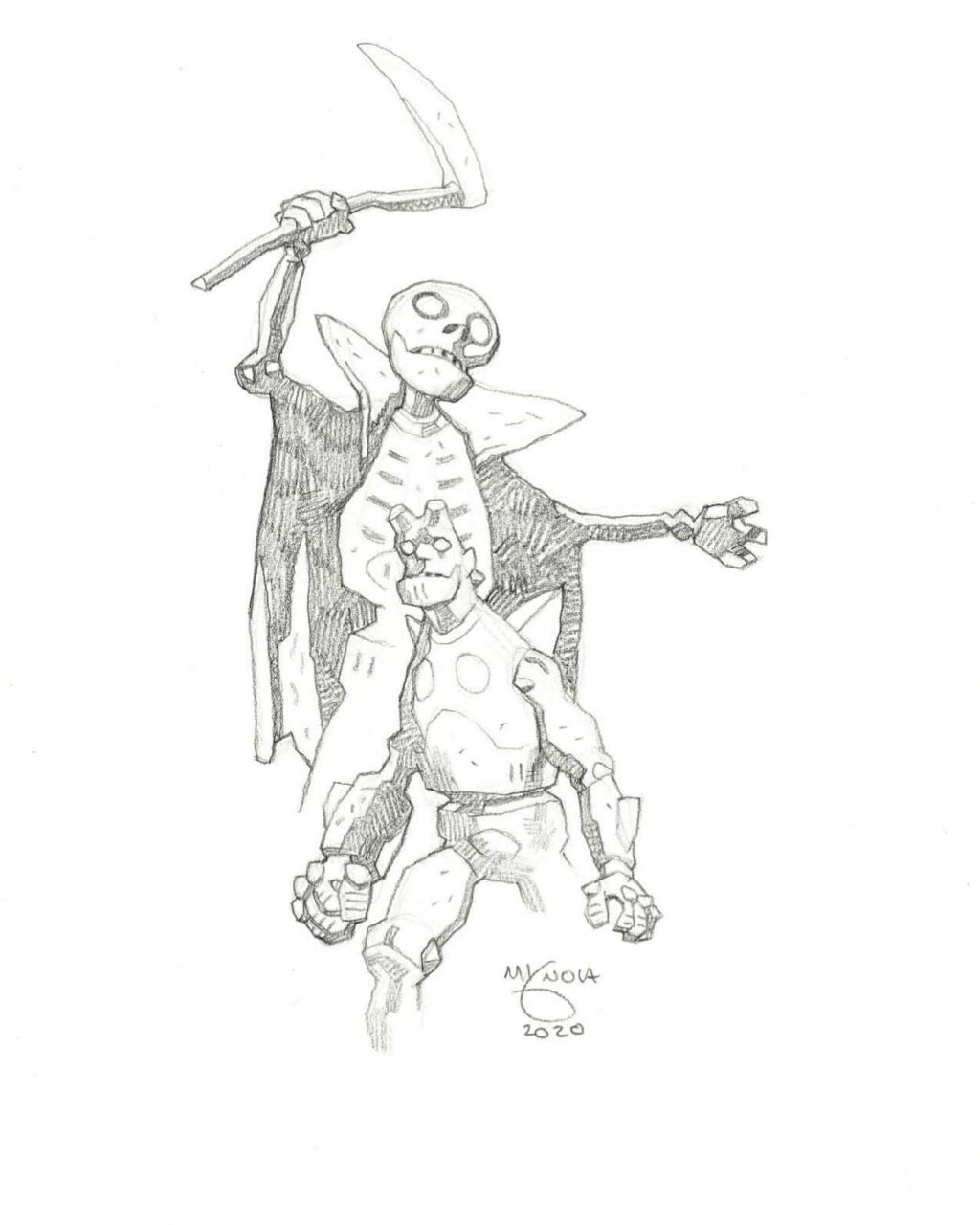 mike mignola hellboy and grim reaper 1 1024x1280 - Mike Mignola Shares Incredible Quarantine Artwork Of All Your Favourite Characters