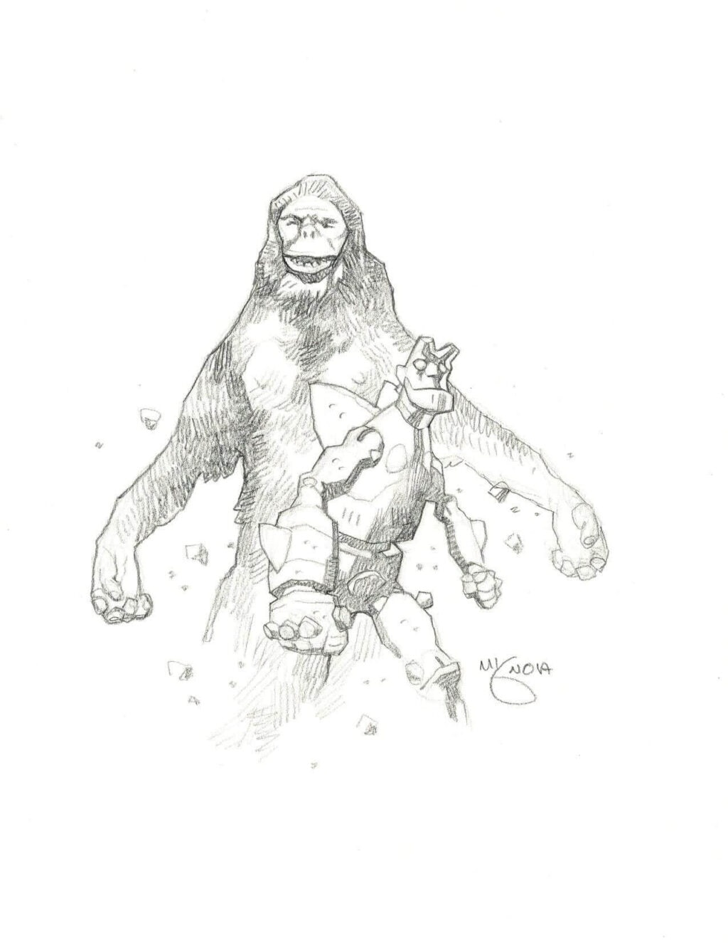 mike mignola hellboy and king kong 1 1024x1325 - Mike Mignola Shares Incredible Quarantine Artwork Of All Your Favourite Characters