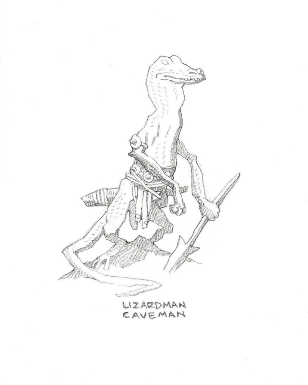 mike mignola lizard caveman 1 1024x1280 - Mike Mignola Shares Incredible Quarantine Artwork Of All Your Favourite Characters