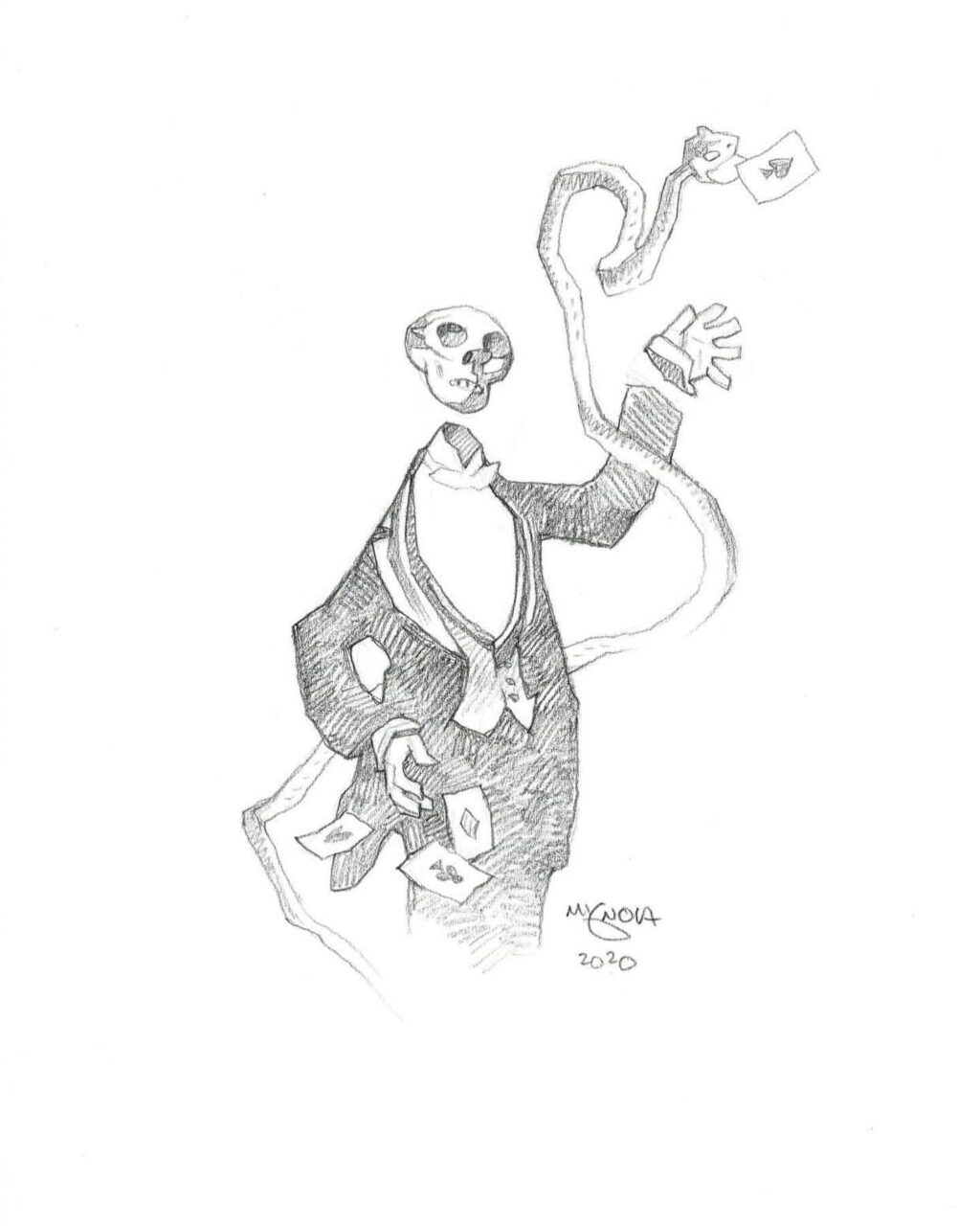 mike mignola skeleton magician 1 1024x1280 - Mike Mignola Shares Incredible Quarantine Artwork Of All Your Favourite Characters