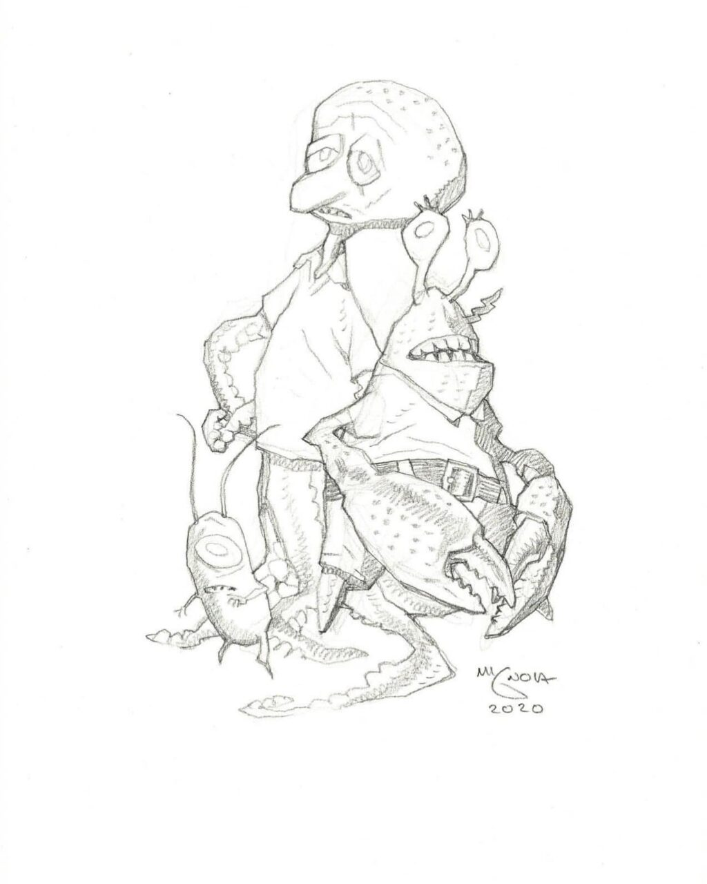 mike mignola spongebob characters 2 1 1024x1280 - Mike Mignola Shares Incredible Quarantine Artwork Of All Your Favourite Characters