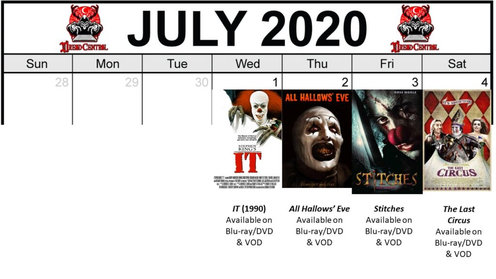 July 2020 week 1 Final 1024x576 - Circus of Dread: Our 366-Day #YearOfDread Horror Challenge Continues with Clown & Carnival Movies