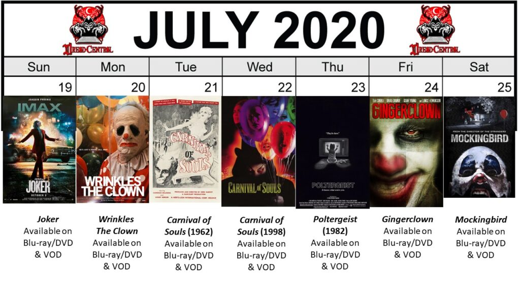 July 2020 week 4 Final 1024x576 - Circus of Dread: Our 366-Day #YearOfDread Horror Challenge Continues with Clown & Carnival Movies