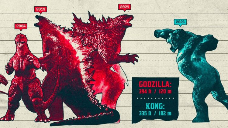 Godzilla vs Kong Size Chart Banner 750x422 - New Height Chart Reveals Just How Much Godzilla and Kong Have Grown Over the Years