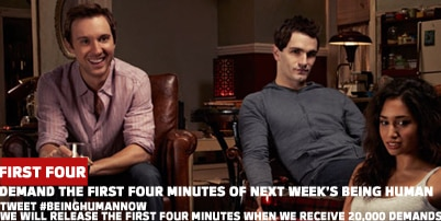 Tweet #beinghumannow to see the first four minutes of the Season 3 premiere of Being Human (US)
